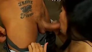 Busty Asian Slut Eats Cum